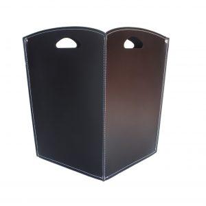 VENUS: portalegna in cuoio colore Testa di Moro, contenitore per camino, borsa porta legna, per la casa, Ufficio, Hotel, design Firestyle®, Made in Italy..