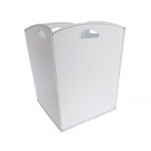 VENUS: portalegna in cuoio colore Bianco, contenitore per camino, borsa porta legna, per la casa, Ufficio, Hotel, design Firestyle®, Made in Italy.