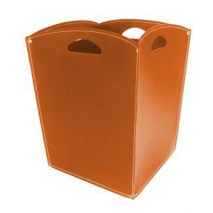 VENUS: portalegna in cuoio colore Marrone, contenitore per camino, borsa porta legna, per la casa, Ufficio, Hotel, design Firestyle®, Made in Italy.