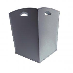 VENUS: portalegna in cuoio colore Grigio Antracite, contenitore per camino, borsa porta legna, per la casa, Ufficio, Hotel, design Firestyle®, Made in Italy.