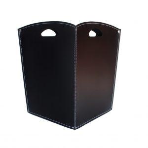 VENUS: portalegna in cuoio colore Nero, contenitore per camino, borsa porta legna, per la casa, Ufficio, Hotel, design Firestyle®, Made in Italy.