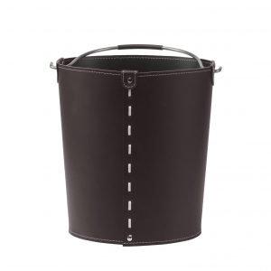 VINTAGE: contenitore in cuoio colore Testa di Moro con manico in acciaio, borsa, cesto, portalegna, gettacarte, realizzato in Italia by LIMAC DESIGN®.