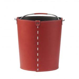 VINTAGE: contenitore in cuoio colore Rosso con manico in acciaio, borsa, cesto, portalegna, gettacarte, realizzato in Italia by LIMAC DESIGN®.