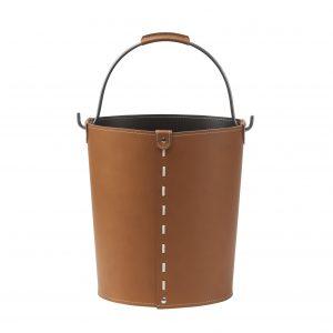 VINTAGE: contenitore in cuoio colore Marrone con manico in acciaio, borsa, cesto, portalegna, gettacarte, realizzato in Italia by LIMAC DESIGN®.