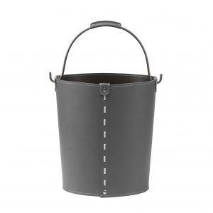 VINTAGE: contenitore in cuoio colore Antracite con manico in acciaio, borsa, cesto, portalegna, gettacarte, realizzato in Italia by LIMAC DESIGN®.