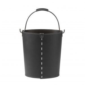 VINTAGE: contenitore in cuoio colore Nero con manico in acciaio, borsa, cesto, portalegna, gettacarte, realizzato in Italia by LIMAC DESIGN®.