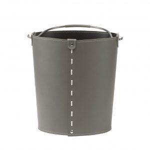 VINTAGE: contenitore in cuoio colore Tortora con manico in acciaio, borsa, cesto, portalegna, gettacarte, realizzato in Italia by LIMAC DESIGN®.