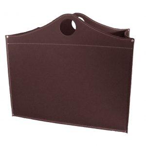 WOODBAG MINI: portalegna in cuoio colore Testa di Moro, contenitore per camino, borsa porta legna, per la casa, Ufficio, Hotel, design Firestyle®, Made in Italy.