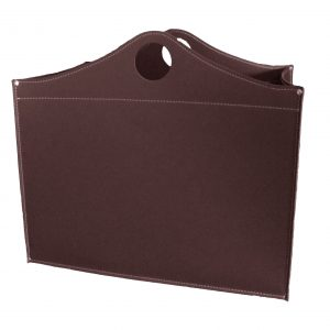 WOODBAG: portalegna in cuoio colore Testa di Moro, contenitore per camino, borsa porta legna, per la casa, Ufficio, Hotel, design Firestyle®, Made in Italy.