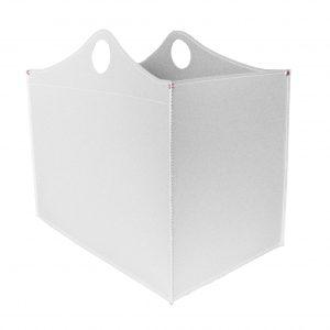 WOODBAG: portalegna in cuoio colore Bianco, contenitore per camino, borsa porta legna, per la casa, Ufficio, Hotel, design Firestyle®, Made in Italy.