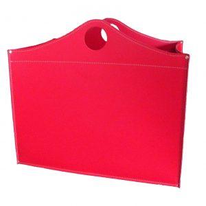 WOODBAG MINI: portalegna in cuoio colore Rosso, contenitore per camino, borsa porta legna, per la casa, Ufficio, Hotel, design Firestyle®, Made in Italy.