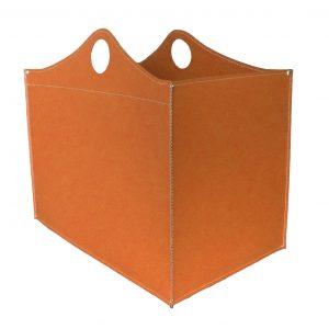WOODBAG MINI: portalegna in cuoio colore Marrone, contenitore per camino, borsa porta legna, per la casa, Ufficio, Hotel, design Firestyle®, Made in Italy.
