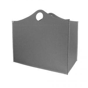 WOODBAG MINI: portalegna in cuoio colore Grigio Antracite, contenitore per camino, borsa porta legna, per la casa, Ufficio, Hotel, design Firestyle®, Made in Italy.