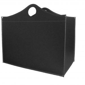 WOODBAG: portalegna in cuoio colore Nero, contenitore per camino, borsa porta legna, per la casa, Ufficio, Hotel, design Firestyle®, Made in Italy.