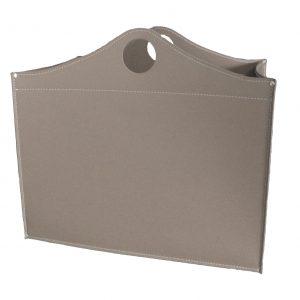 WOODBAG: portalegna in cuoio colore Tortora, contenitore per camino, borsa porta legna, per la casa, Ufficio, Hotel, design Firestyle®, Made in Italy.