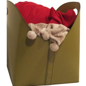 ZESTA: borsa portalegna e/o pellet in cuoio colore Tortora, con ruote gommate, contenitore per camino, borsa porta legna, per la casa, Ufficio, Hotel, design Firestyle®, Made in Italy.