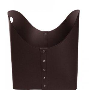 ZESTA: borsa portalegna e/o pellet in cuoio colore Testa di Moro, con ruote gommate, contenitore per camino, borsa porta legna, per la casa, Ufficio, Hotel, design Firestyle®, Made in Italy.