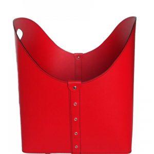ZESTA: borsa portalegna e/o pellet in cuoio colore Rosso, con ruote gommate, contenitore per camino, borsa porta legna, per la casa, Ufficio, Hotel, design Firestyle®, Made in Italy.
