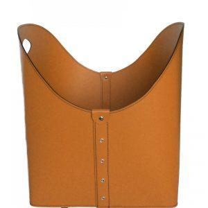 ZESTA: borsa portalegna e/o pellet in cuoio colore Marrone, con ruote gommate, contenitore per camino, borsa porta legna, per la casa, Ufficio, Hotel, design Firestyle®, Made in Italy.