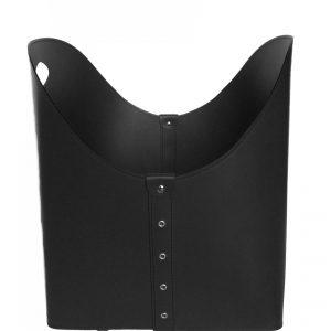 ZESTA: borsa portalegna e/o pellet in cuoio colore Nero, con ruote gommate, contenitore per camino, borsa porta legna, per la casa, Ufficio, Hotel, design Firestyle®, Made in Italy.