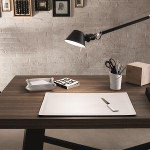 DONIO: Set 2 pezzi da scrivania in cuoio colore Bianco, portapenne e portaoggetti, organizer ufficio, hotel, Made in Italy by Limac Design®.