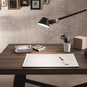 ASCANIO 6: Set di accessori da scrivania in cuoio colore Bianco, set ufficio, sottomano da scrivania, portaoggetti, portapenne, antiscivolo, Made in Italy by Limac Design®.