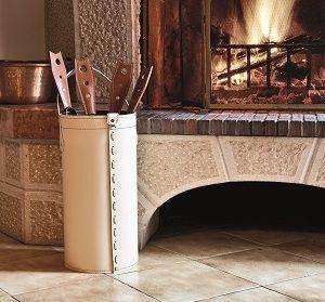 CINTA: porta attrezzi per camino in cuoio colore Marrone, contenitore portattrezzi, accessori camino, sacca per set ferri camino, Made in Italy by Firestyle®.