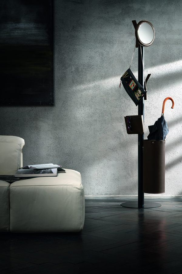 Coat Rack Stand with 7 elements covered in leather ERCOLE 7