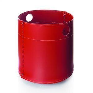 GIRO: portalegna in cuoio colore Rosso, contenitore per camino, borsa porta legna, per la casa, Ufficio, Hotel, design Firestyle®, Made in Italy.