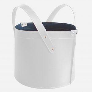 GARDA: portalegna in cuoio colore Bianco, contenitore per camino, borsa porta legna, per la casa, Ufficio, Hotel, design Firestyle®, Made in Italy.