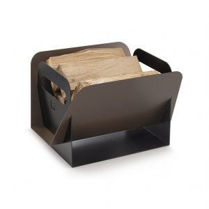 HOJA: Aluminum Firewood Basket bi-color Bronze and Black, Fireplace Log Holder, Firewood Storage, made in Italy by Limac Design®.