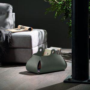 PENELOPE: portariviste in cuoio colore Tortora, porta giornali, quotidiani, cesto, per Casa, Ufficio, Idea regalo, Made in Italy, Limac Design®.