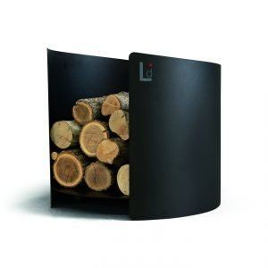 ARENA: Firewood holder in black painted steel, metal wood basket with rubber wheels, produced in Italy and made by Limac Design®.