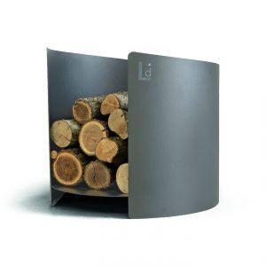 ARENA: Firewood holder in Anthracite Gray painted steel, metal wood basket with rubber wheels, produced in Italy and made by Limac Design®.