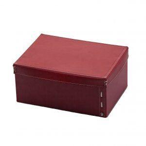 OFELIA: Contenitore in cuoio con coperchio colore Bordeaux, cesto portaoggetti, archivio documenti box per casa, ufficio, hotellierie, prodotto da Limac Design®