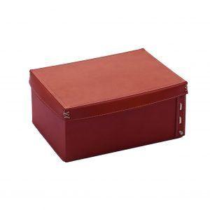 OFELIA: Contenitore in cuoio con coperchio colore Rosso, cesto portaoggetti, archivio documenti box per casa, ufficio, hotellierie, prodotto da Limac Design®