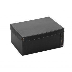 OFELIA: Contenitore in cuoio con coperchio colore Nero, cesto portaoggetti, archivio documenti box per casa, ufficio, hotellierie, prodotto da Limac Design®