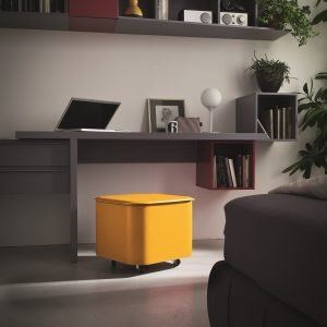 PUFFO: Pouff Steel frame covered with leather Ocra Yellow color, Box, Organizer, space-saving solutions, Made in Italy by Limac Design®.
