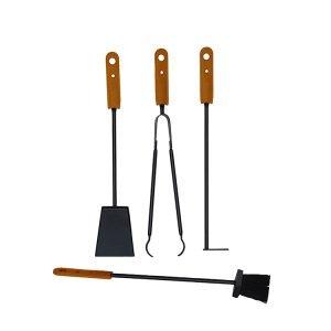 Ensemble serviteur de cheminée 5 pièces en acier et cuir BOARY