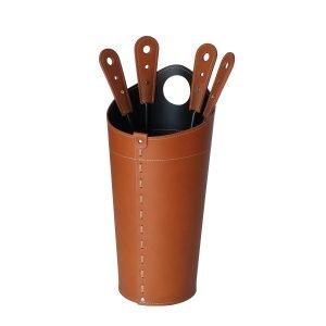 Ensemble serviteur de cheminée 5 pièces en acier et cuir NILAR