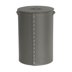 Laundry basket in leather with removable lining ROBERTA