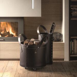 Parure 3 pièces accessoires pour le cheminée en cuir TOCAD