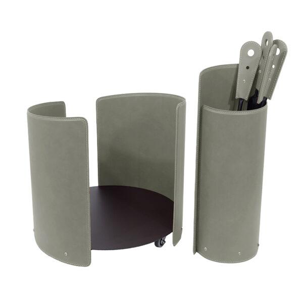 Set accessori da camino in acciaio e cuoio ALICAD
