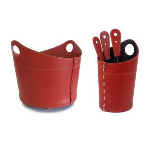 Geschenkidee Kamin-Set aus Leder INCAD