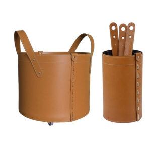 Geschenkidee Kamin-Set aus Leder LYCAD – Braun
